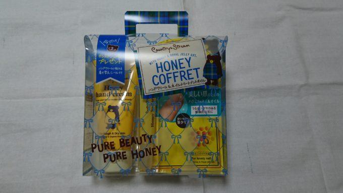 カントリー&ストリーム ハチミツのハンド&ネイルコフレ (本体とパッケージ)の写真。